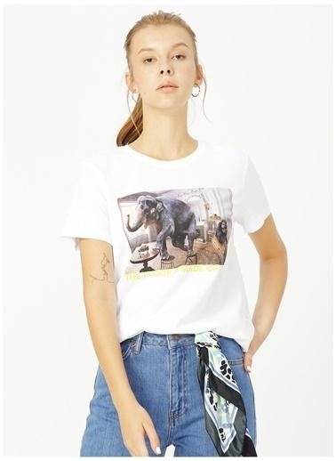 Only Only Açık Beyaz Baskılı T-Shirt Beyaz